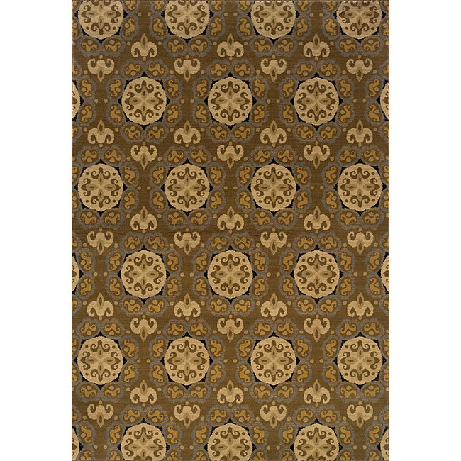 Graey/ Gold Transitional Area Rug (6'7 x 9'6)