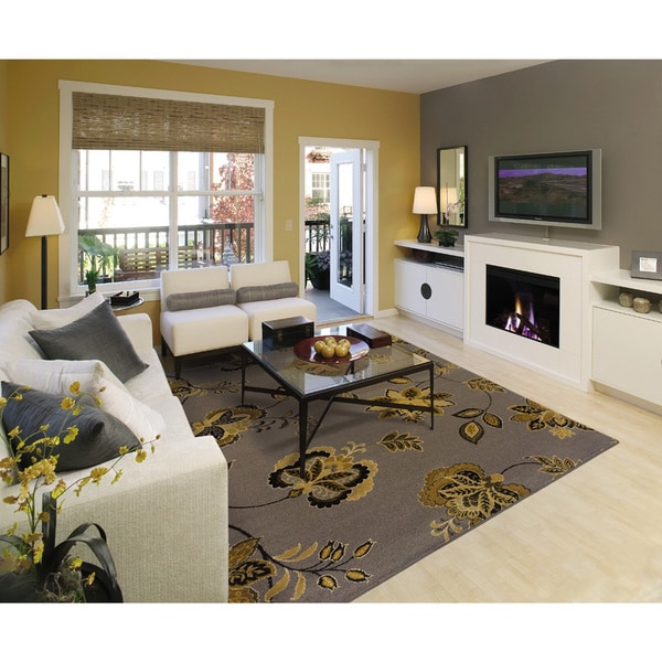 """Grey/Gold Transitional Floral Area Rug (3'10"""" x 5'5"""")"""