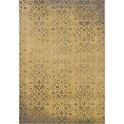 Beige/ Grey Transitional Floral Area Rug (5' x 7'6)