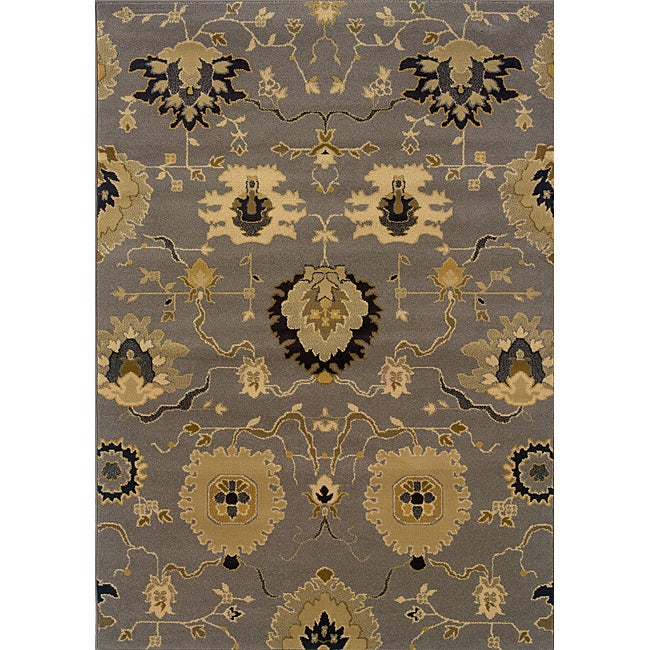 Gray Gold Floral Transitional Area Rug 7 8 Quot X 10 10