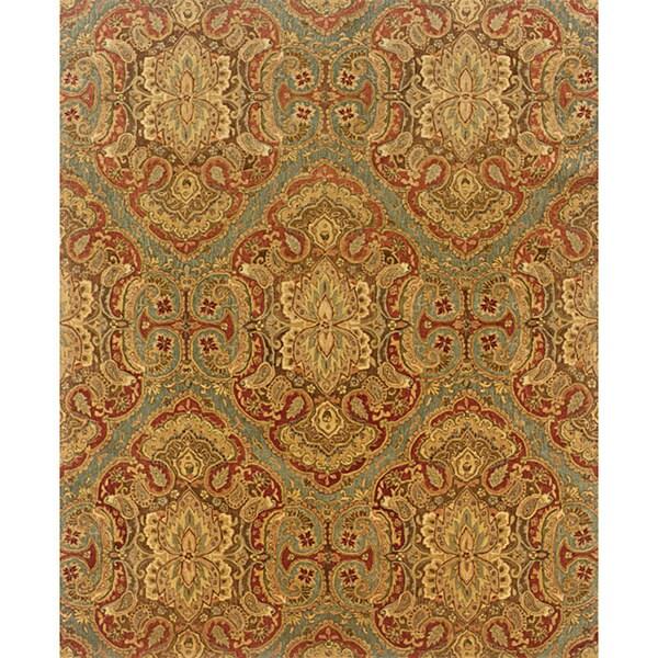 Evan Blue/ Rust Transitional Wool Rug (5' x 8'3)
