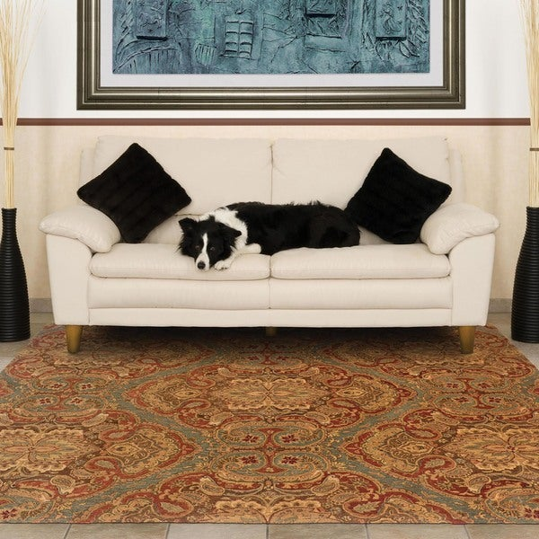 Evan Blue/ Rust Transitional Wool Rug (8'3 x 11'3)