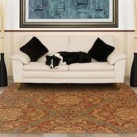 "Evan Blue/ Rust Transitional Wool Rug (8'3 x 11'3) - 8'3"" x 11'3"""