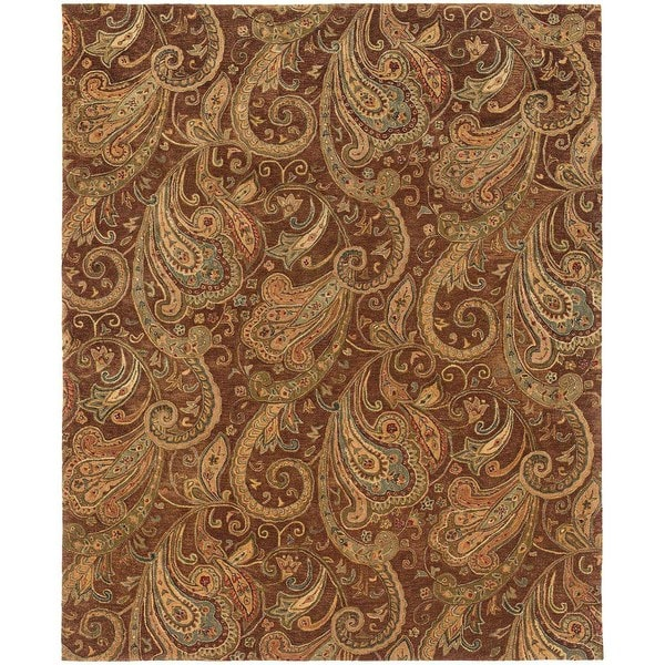 "Evan Brown/ Gold Transitional Area Rug (5' x 8'3) - 5'3"" x 8'3"""