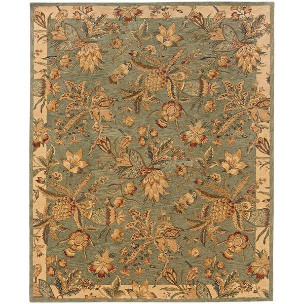Evan Blue/ Ivory Transitional Area Rug - 5' x 8'3