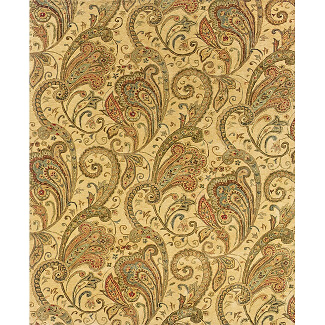 "Evan Beige/ Gold Transitional Area Rug (5' x 8'3) - 5'3"" x 8'3"""