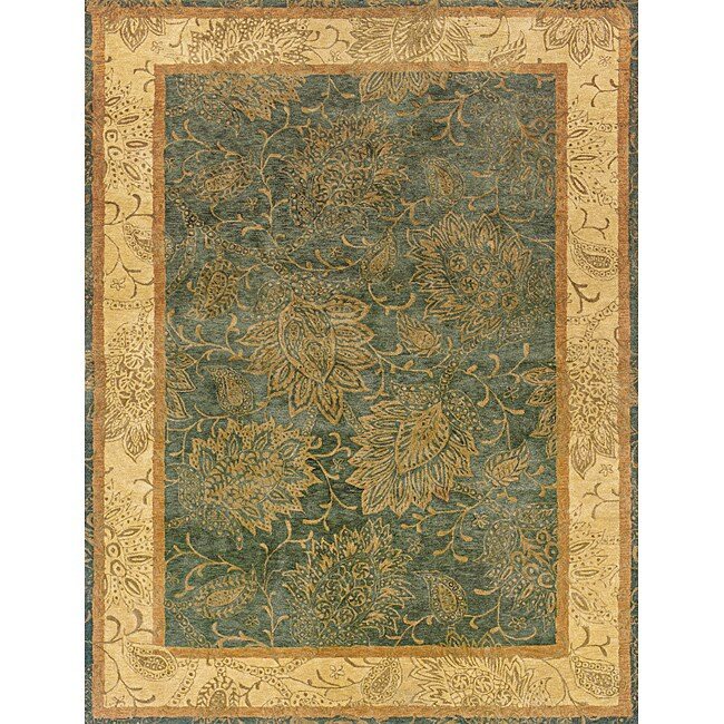 Evan Blue and Beige Transitional Area Rug - 7'6 x 9'6
