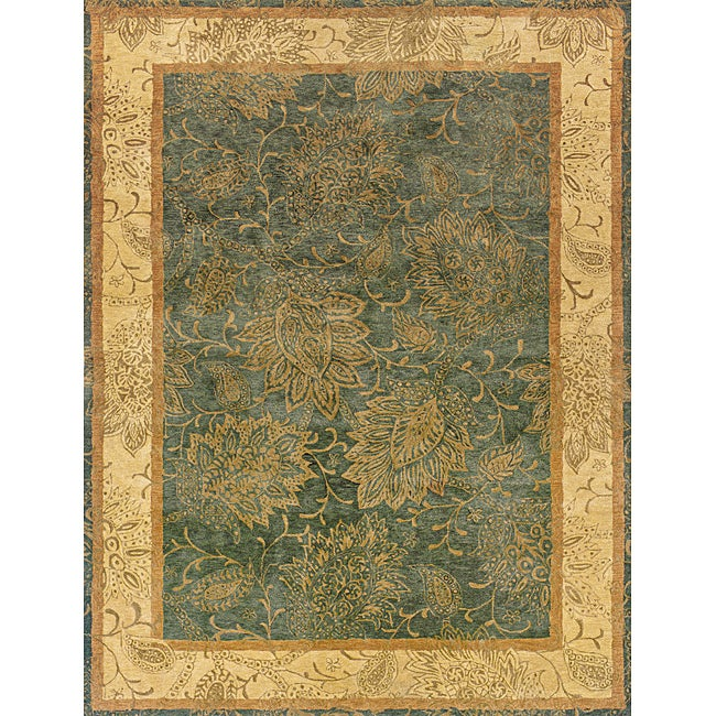 """Evan Blue and Beige Transitional Area Rug (8'3 x 11'3) - 8'3"""" x 11'3"""""""