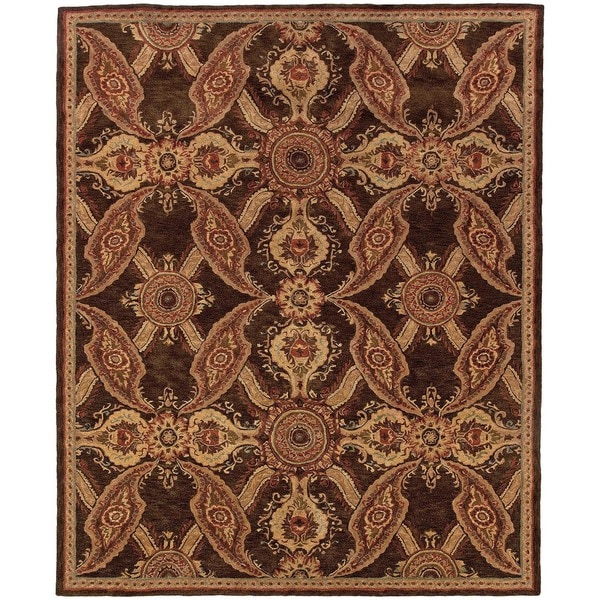 """Evan Brown and Rust Transitional Area Rug (5' x 8'3) - 5'3"""" x 8'3"""""""