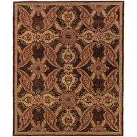 "Evan Brown and Rust Transitional Area Rug (5' x 8'3) - 5'3"" x 8'3"""