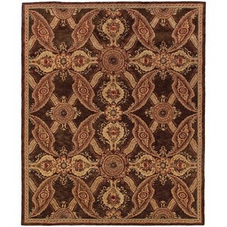 Evan Brown and Rust Transitional Area Rug - 5' x 8'3