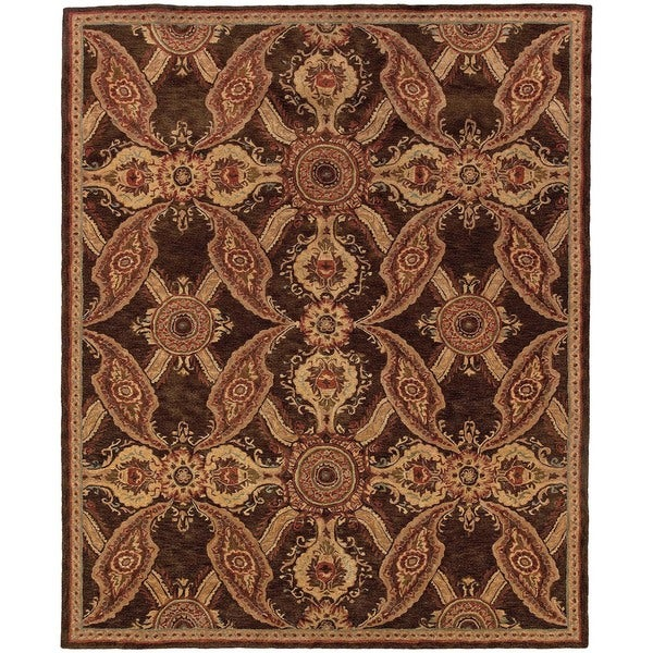 Evan Brown and Rust Transitional Area Rug - 8'3 x 11'3