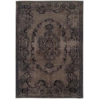 Overdyed Distressed Oriental Grey/ Black Area Rug (3'10 x 5'5)