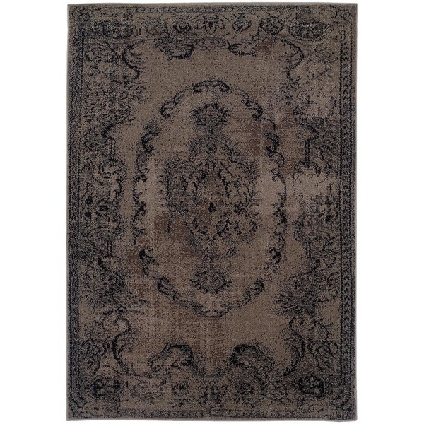 Overdyed Distressed Oriental Grey/ Black Area Rug (7'10 x 10'10)