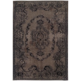 Overdyed Distressed Oriental Grey/ Black Area Rug (7'10 x 10'10)