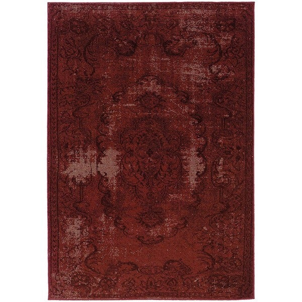 Overdyed Distressed Oriental Red/ Black Area Rug - 6'7 x 9'6