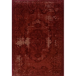 Overdyed Distressed Oriental Red/ Black Area Rug (6'7 x 9'6)