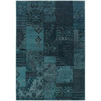 Patchwork Over-dyed Teal/ Grey Area Rug (3'10 x 5'5) - 3'10 x 5'5