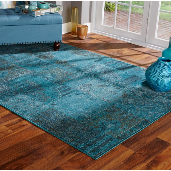 Patchwork Over Dyed Teal Grey Area Rug 5 X 7 6 Free