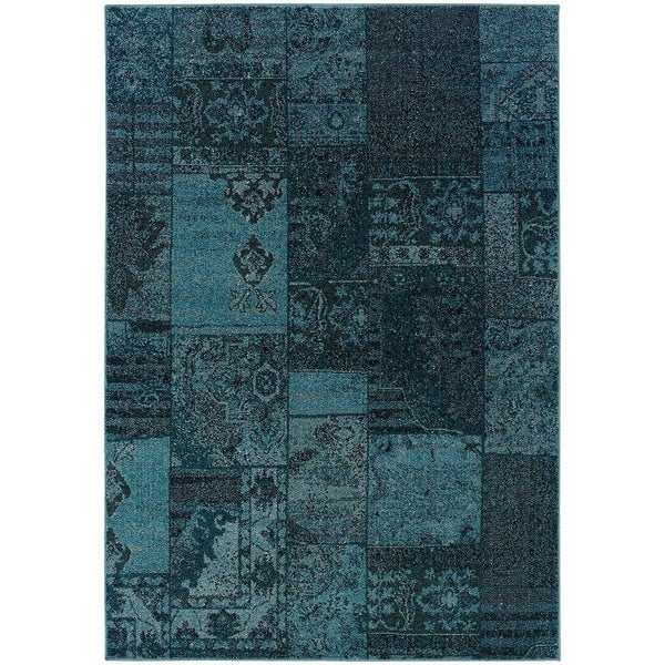 Patchwork Over-dyed Teal/ Gray Area Rug (6'7 x 9'6)