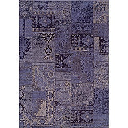 Patchwork Over-dyed Purple/ Grey Area Rug (3'10 x 5'5)