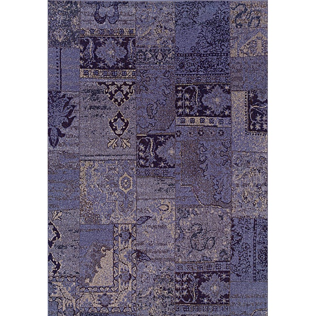 Patchwork Over-dyed Purple/ Grey Area Rug (5' x 7'6)