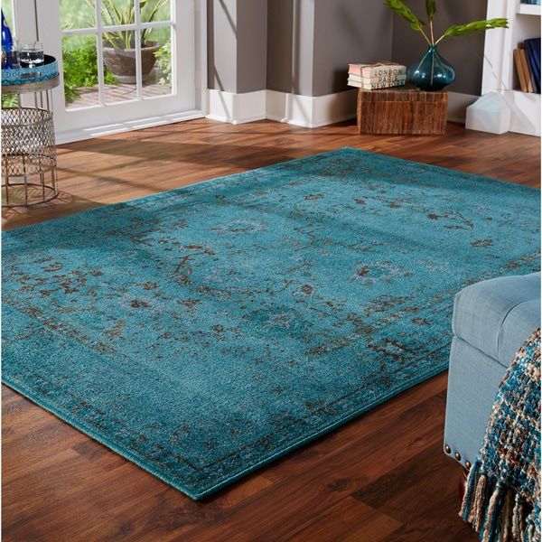 Over-dyed Distressed Traditional Teal/ Grey Area Rug (3'10