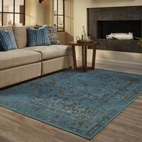 Gracewood Hollow Meade Distressed Traditional Teal/ Grey Area Rug - 3'10 x 5'5