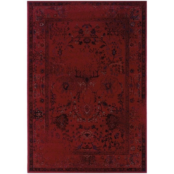 Over-dyed Distressed Traditional Red/ Grey Area Rug (3'10 x 5'5)