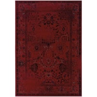 """Over-dyed Distressed Traditional Red/ Grey Area Rug (3'10 x 5'5) - 3'10"""" x 5'5"""""""