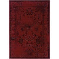 """Over-dyed Distressed Traditional Red/ Grey Area Rug (5' x 7'6) - 5'3"""" x 7'6"""""""