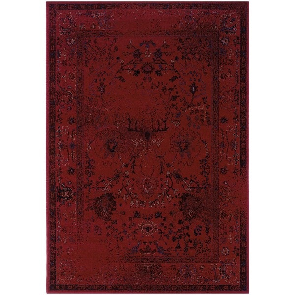 """Over-dyed Distressed Traditional Red/ Grey Area Rug (6'7 x 9'6) - 6'7"""" x 9'6"""""""