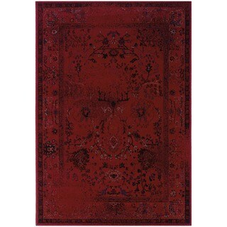 Over-dyed Distressed Traditional Red/ Grey Area Rug (6'7 x 9'6)