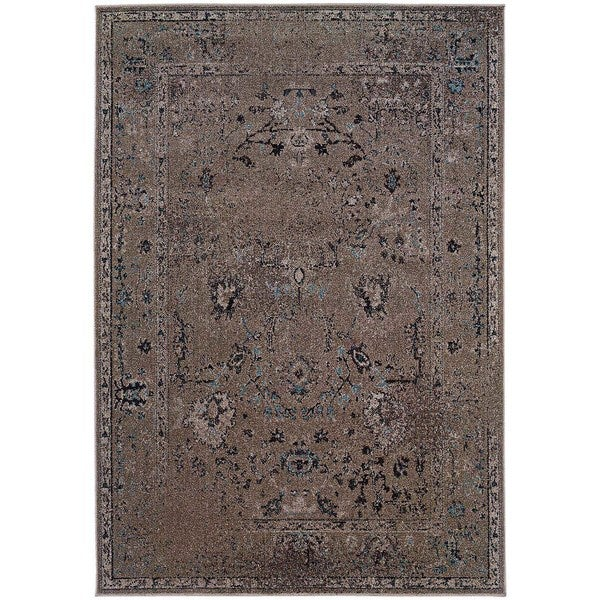 Over-dyed Distressed Traditional Grey/ Black Area Rug (3'10 x 5'5)