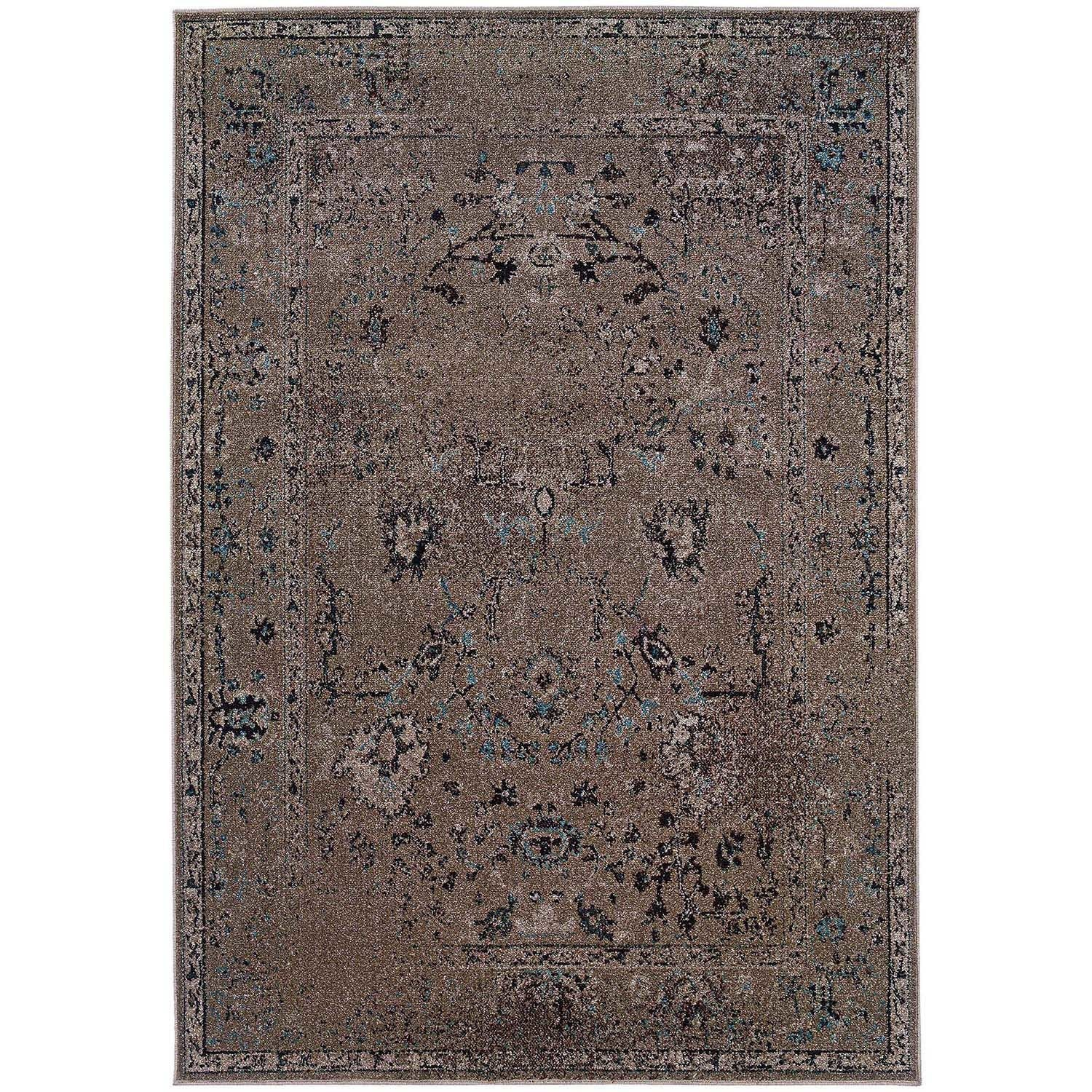 Over-dyed Distressed Traditional Grey/ Black Area Rug (5' x 7'6)