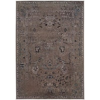 Gracewood Hollow Means Over-dyed Distressed Traditional Grey/ Black Area Rug - 5' x 7'6