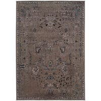 Gracewood Hollow Means Over-dyed Distressed Traditional Grey/ Black Area Rug - 6'7 x 9'6