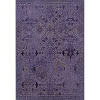 Over-dyed Distressed Traditional Purple/ Grey Area Rug - 3'10 x 5'5