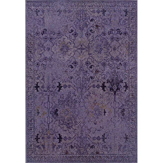 Over-dyed Distressed Traditional Purple/ Grey Area Rug (6'7 x 9'6)