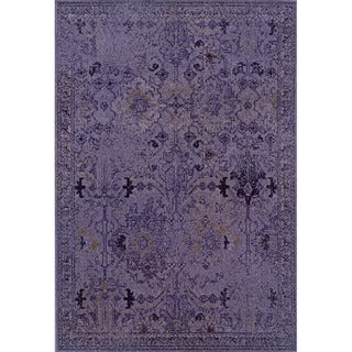 Over-dyed Distressed Traditional Purple/ Grey Area Rug (7'10 x 10'10)