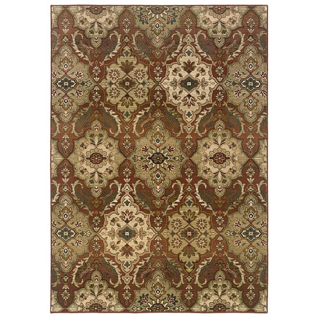 "Sydney Rust/Beige Transitional Polyester Area Rug (6'7"" x 9'1"")"