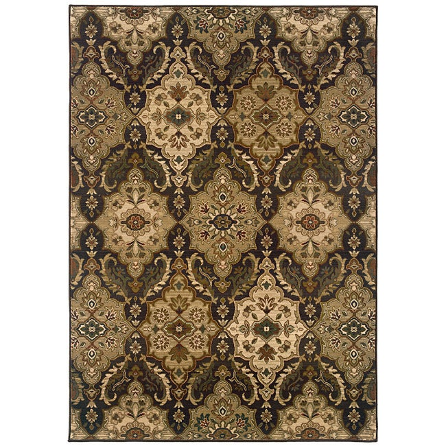 "Sydney Brown/Beige Transitional Polyester Area Rug (5' x 7'6"")"