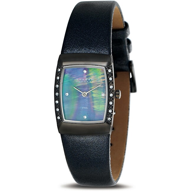 Skagen Women's Grey MOP Dial and Leather Strap Watch