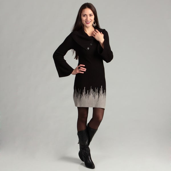 Connected Apparel Women's Black/ Oatmeal Dress FINAL SALE