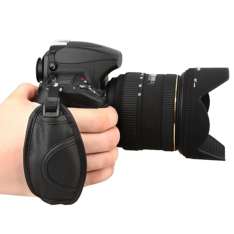 Insten Black Camera Leather Adjustable Pad Hand Strap - Thumbnail 0