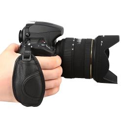 Insten Black Camera Leather Adjustable Pad Hand Strap