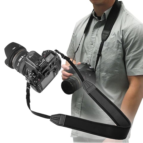 INSTEN Black Anti-Slip Weight Reducing Neoprene Camera Neck Strap