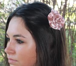 CarolineAlexander Satin Rose Hair Flower - Thumbnail 1