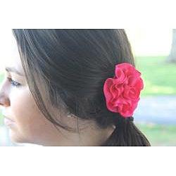 Caroline Alexander Double-faced Satin Ribbon Rose Flower Hair Clip