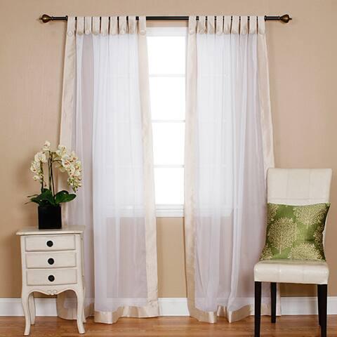 Aurora Home Dupioni Border Sheer Voile Tab Top Curtain Pair - 52 x 86